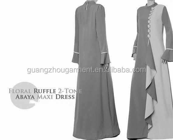 arab clothing oem Mandarin Collar Flare Sleeves floral ruffle two-tone abaya maxi dress