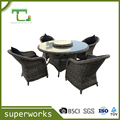 rattan wicker dining table furniture set,dinning round table with chairs