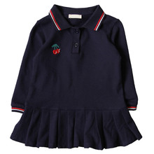 Autumn Solid Color Children Fall Clothing <strong>Girls</strong> Embroidered Cherry <strong>Dress</strong> New Designs Kids Long Sleeve <strong>Girl</strong> Polo <strong>Dresses</strong>