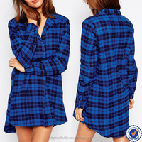 china wholesale nightshirts 100% cotton sexy women plaid flannel nightshirt