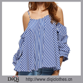 2017 Casual Summer Striped Ruffled Blouses Sexy Spaghetti Strap Shirt