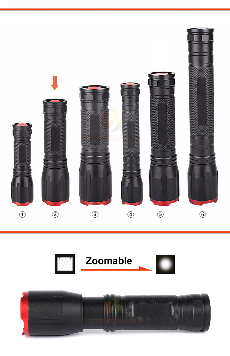 2017 Best sale T6 battery powered flashlight black