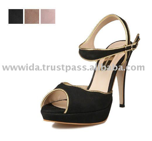 [KITA]Girls Shoes, Elegance Gold Edge Point Nubuck Ankle strap Sandals