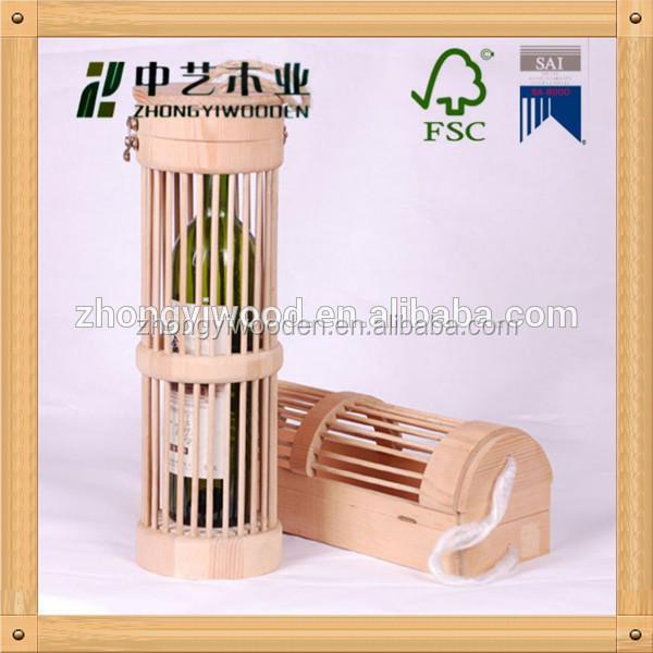 2016 year china factory FSC OEM single pine wooden beer wine whiskey glass bottle storage cage crate box
