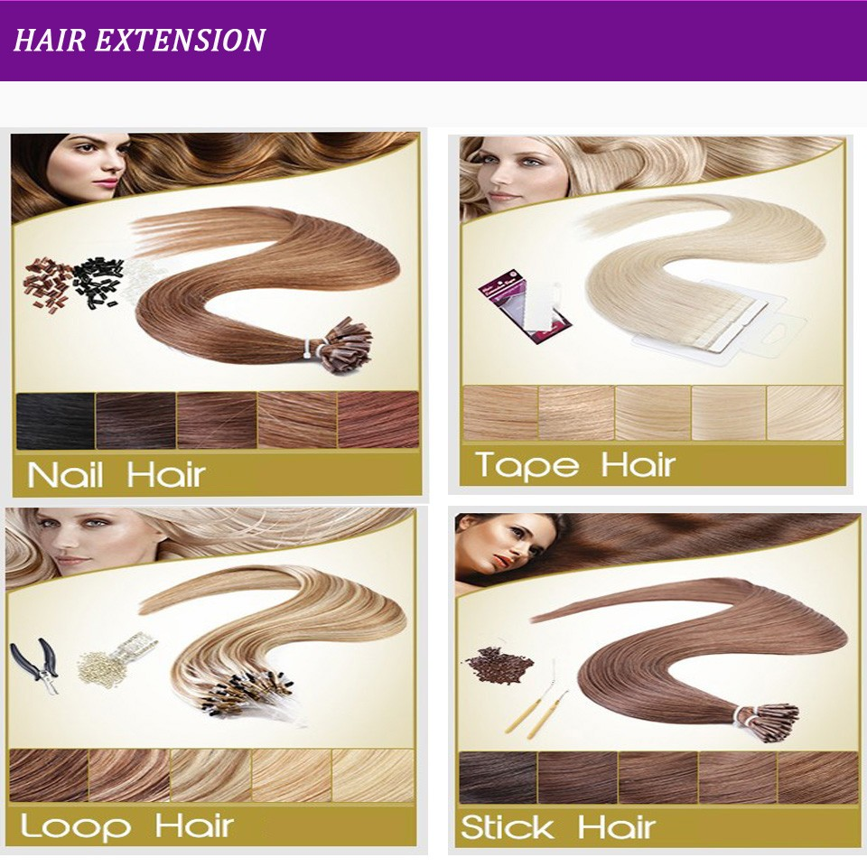 Factory Price High quality 100g/pc 8-30inches 100% Brazilian hair tape hair extension Erica hair