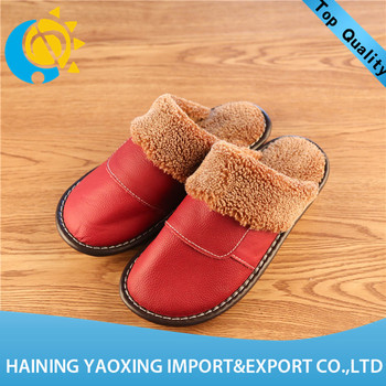 Hot genuine leather cow indoor slippers women custom wholesale