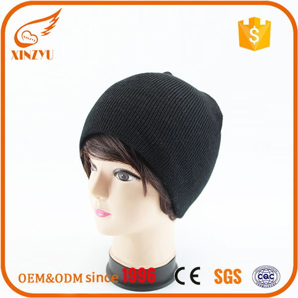 Chinese suppliers wholesale cheap balck custom merino wool beanie hats