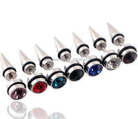 ES51012 free shipping steel personalized crystal body jewelry accessories men rhinestone steel spike and stud earrings