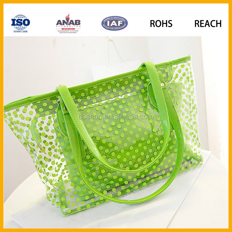 Plain Style Polka Dot Super Clear PVC Beach Bag Waterproof Women Handbag Tote Bag Casual Bag with Small Pouch and zipper