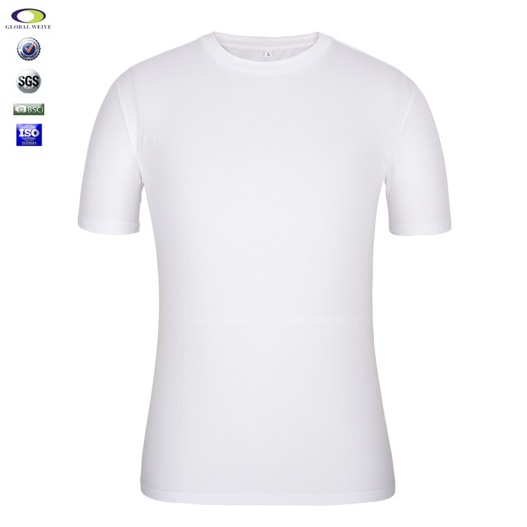 China import cotton plain no brand name white man t-shirt