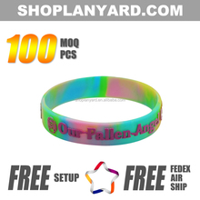 Swirl Color Embossed Printed Silicone Wristband With Logo