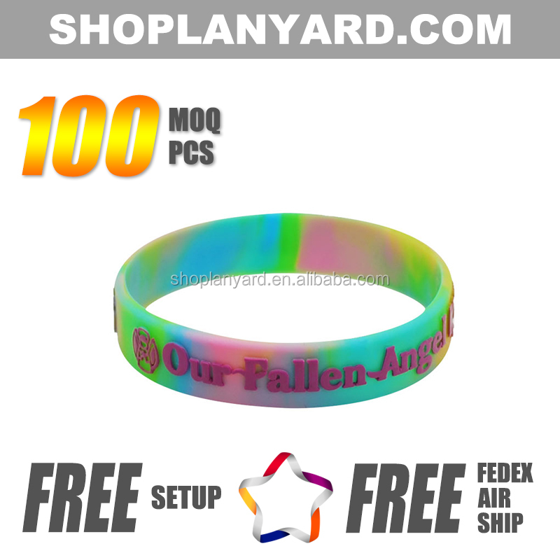 Swirl embossed printed silicone band with logo