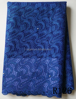 2016 Latest arrival thick royal blue colour african french chemical lace fabric French Lace Fabric