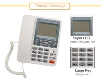 China Supplier White Color Super LCD Corded Desktop Phone