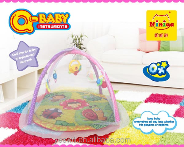 Musical baby activity mat, baby play gym mat with mosquito net