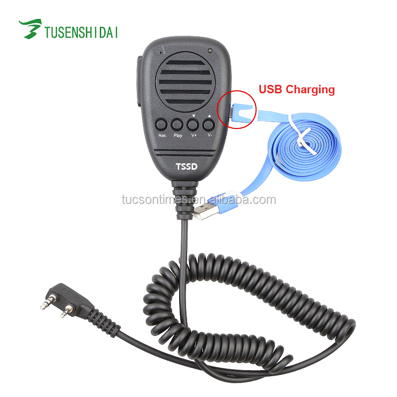 K Type 2pins USB Microphone for Baofeng TYT Two Way Radio TSSD Transceiver Earphone