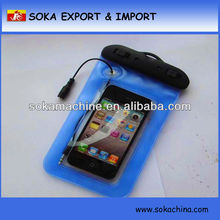 hot sale pvc dry cell phone case with earphone
