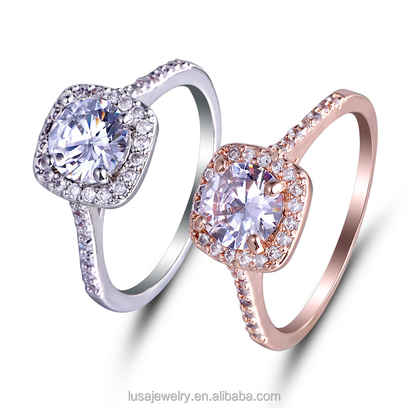 Ally express hot sale rose gold plated cubic zirconia brass ring wedding ring gold RNL038