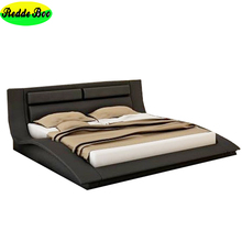 European design air leather wooden queen bed models, qeen size bed