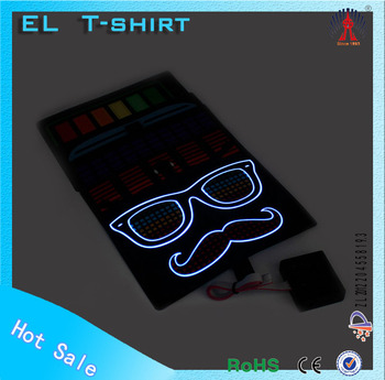 EL flashing t-shirt sound active t-shirt custom flashing el t-shirts