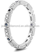 14K Gold Round Blue Sapphire And White Diamond Ladies Vintage Style Wedding Eternity Band Stackable Ring