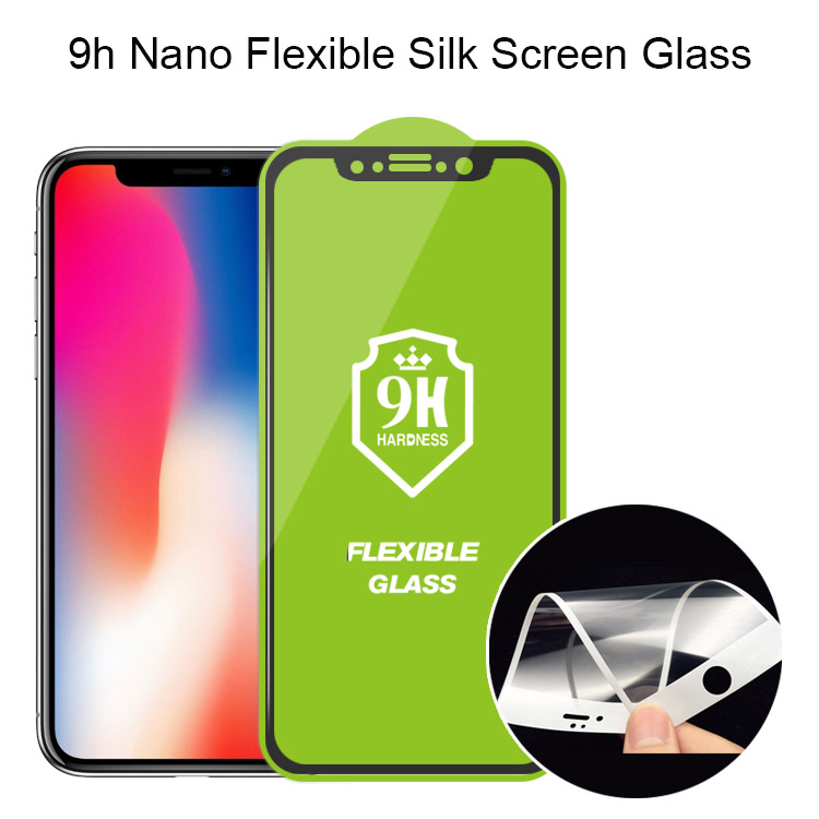 New Packaged Soft Flexible Tempered Glass Screen Protector Silk Screen Nano Glass for iPhone 8 X