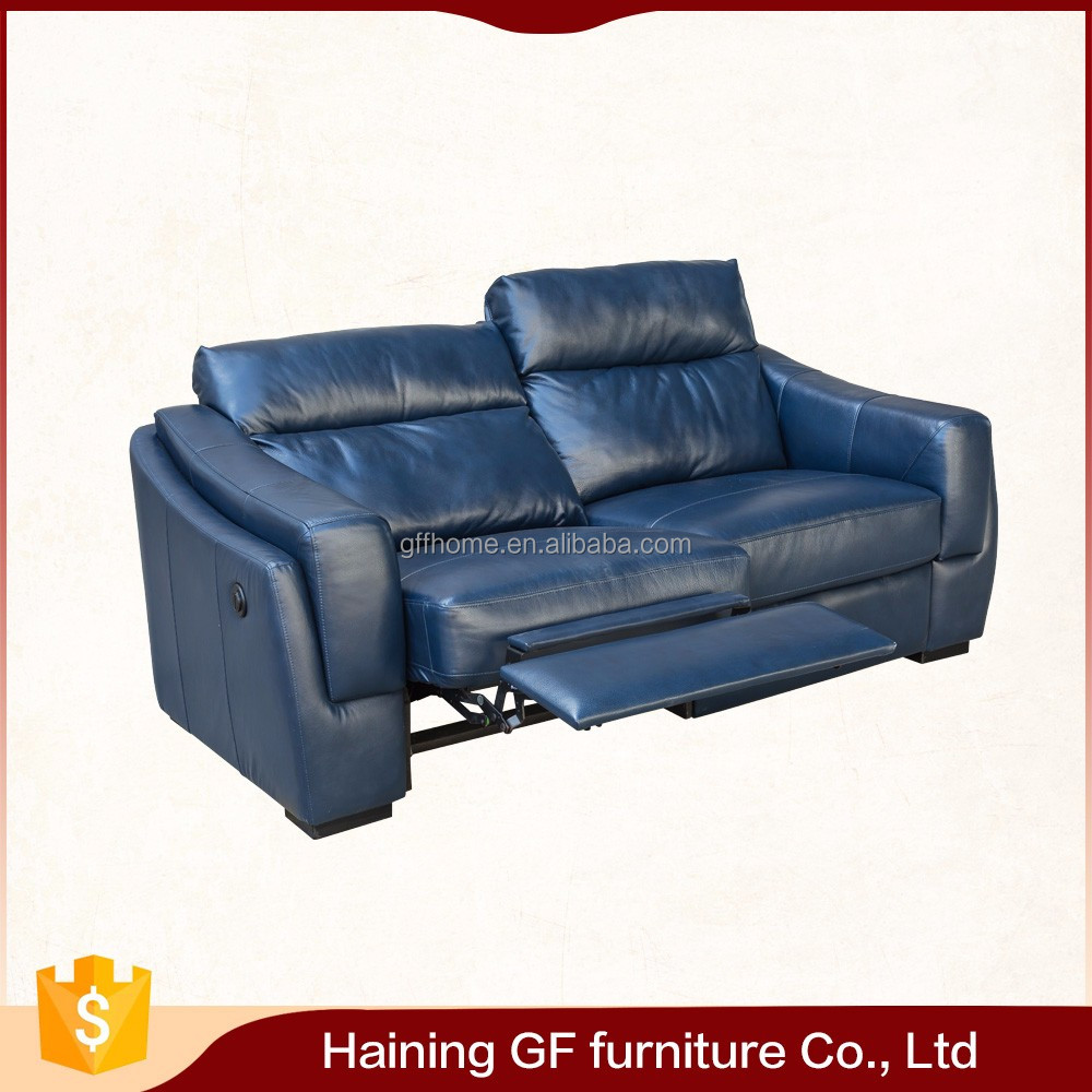 new model wooden blue leather recliner sofa sets pictures