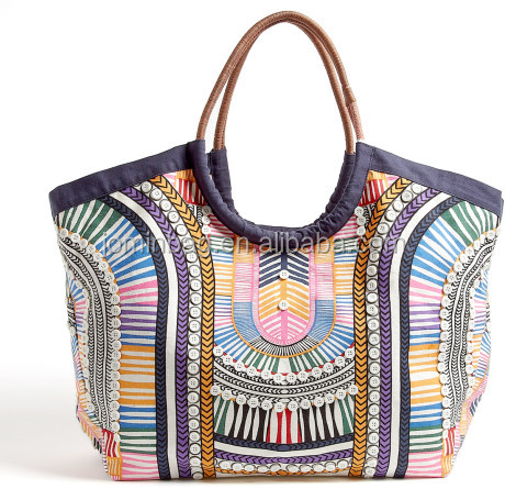 Multicolor Electric Casino Printed Beach Bag