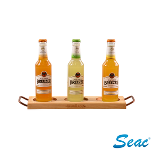 Customized wood material beer cup bottle holder tray liquor display showcase
