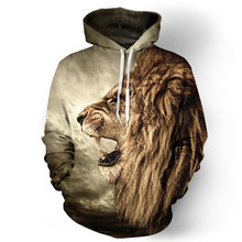 MOON BUNNY 2016 New Sweatshirt Fall/Winter Casual animal hoodies 3D lion sweatshirt print lion head hip hop pullover hoodies who