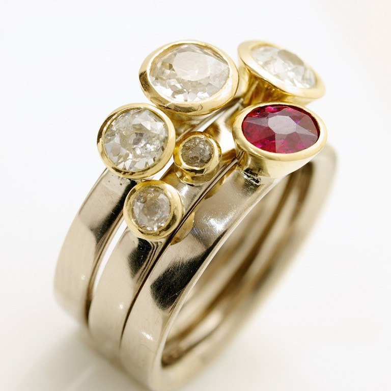 14K gold stacking ring diamonds ruby and clear gemstone stacking rings sets of 3