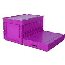 large storage foldable warehouse plastic crates storage tote box with hinged lid