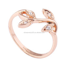 18K Rose Gold Plated Czech Drilling Leaves Vines Womens Fashion Ring Valentine's Day Gift