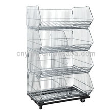 Multi-fonction Four Layers Warehouse Wire Mesh Rolling Metal Storage Cage for Sale YD-P001
