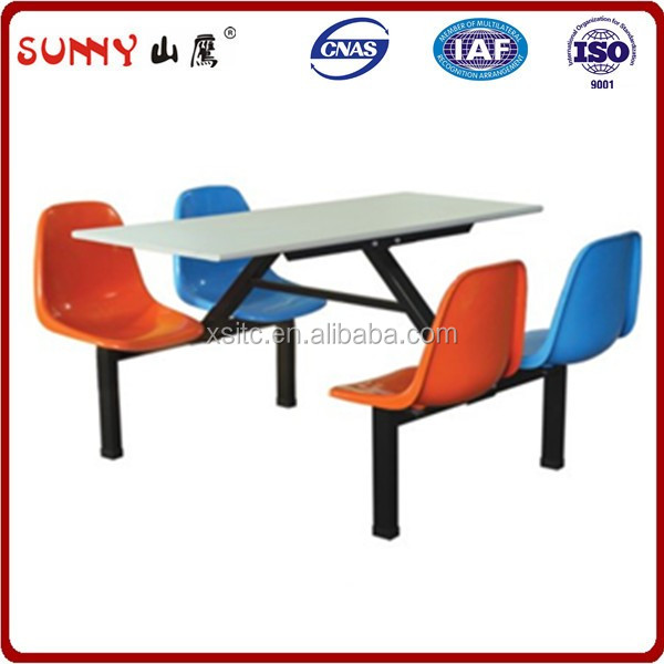 Space saving folding school restaurant table set eight seats dinning table set