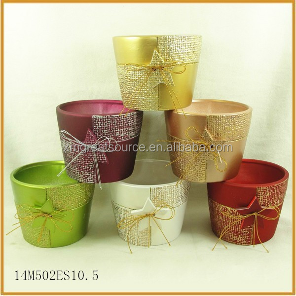 handmade ceramic indoor christmas plant flower pots with star ornaments