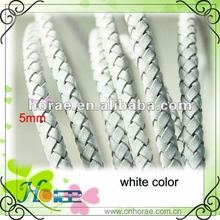 5mm round braided leather cord white color