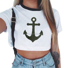 Women's Summer Anchor Printed Crop Top 2017 Short Sleeve Cotton T Shirts Brand New Casual Tees Cute Cropped Top