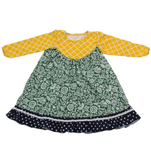 Wholesale fashion kids clothes girls dress long sleeve kids frock designs Flower Girls Dresses