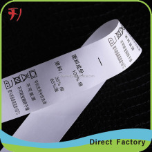 Hot sale custom clothing Custom design garment care label ,garment care label paper