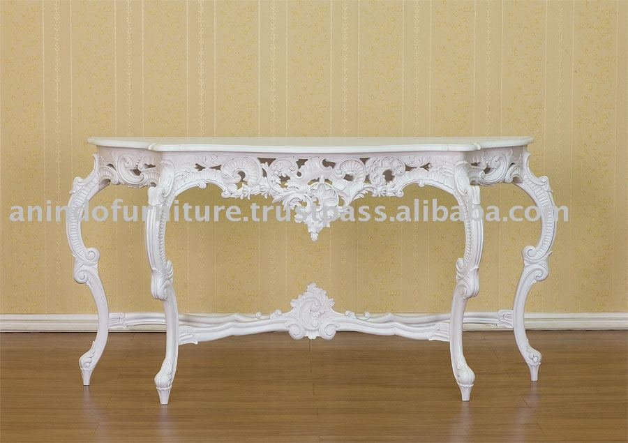 White Painted Furniture - Marble Console Table