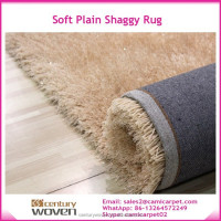 living room long pile polyester silk plain shaggy rug