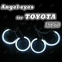 Ultra bright ccfl auto head lamp 4*CCFL car Angel eyes light for Toyota IS250 with 2 waterproof inverters manufacturer