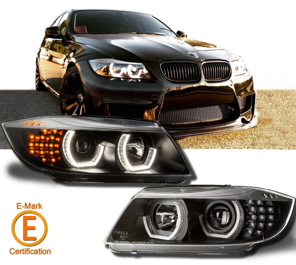 Silver Eyebrow black LED DTM Headlights Halo Projector For BW E90 E91 Head Lamp 05-08