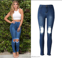 WS0012 High Waist Fancy Design Women Jeans with Knee Hole Ladies Jeans Skinny
