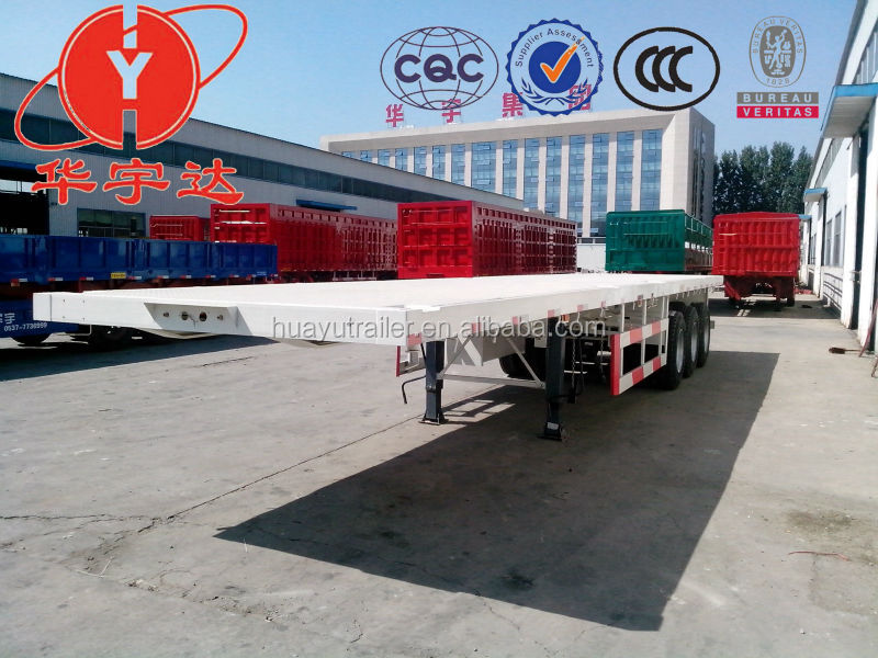 Container carrier truck trailer and Semi trailer flat bed for sale/flatbed truck vehicle