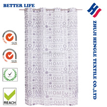 Factory cheap Eyelet fancy white sheer printing design panel window curtain