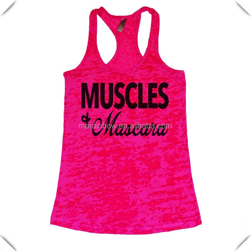 Cheap Wholesale Womens Yoga Top Custom Printed Stringer Gym Singlets Slim Fit Racerback Burnout Tank Top