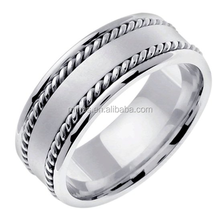 14K White Gold Braided Rope Edge Ring Men's Wedding Band (8mm) in Yiwu City