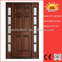 Luxury wooden wrought iron entry doors SC-W129